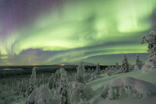 Colorful Northern Lights (Aurora Borealis) Above Snowy Wilderness In Lapland