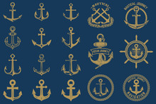 Set Of Nautical Emblems And Design Elements In Vintage Style. Anchors Labels Set On Blue Background.
