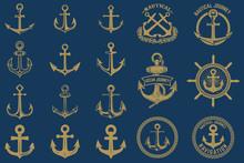 Set Of Nautical Emblems And De...