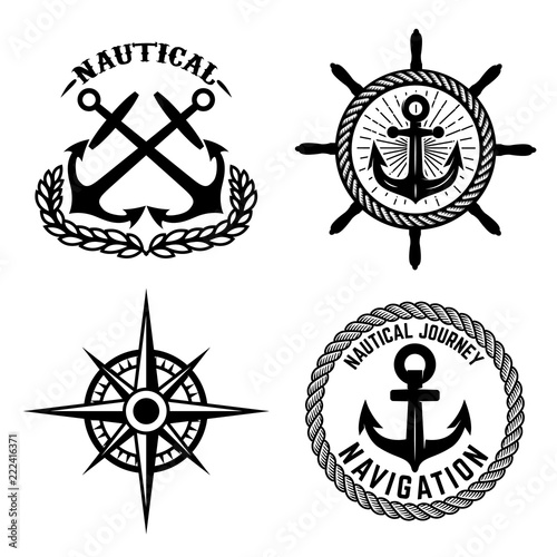 set of emblems with anchors design element for logo label sign t O Element design element for logo label sign t shirt