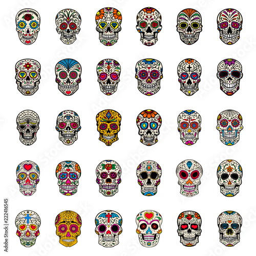 Fotografía  Big set of mexican sugar skulls isolated on white background