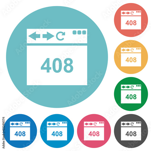 Browser 408 request timeout flat round icons - Buy this stock vector