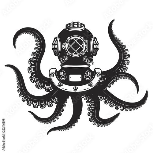 diver helmet with octopus tentacles isolated on white background Fototapeta