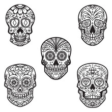 Set Of  Sugar Skull Isolated O...