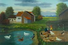 Bauernhof Und Ein Teich Mit En...