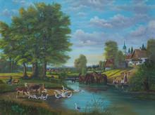Gemälde Vom Leben Am Fluß Am Rande Einer Ortschaft