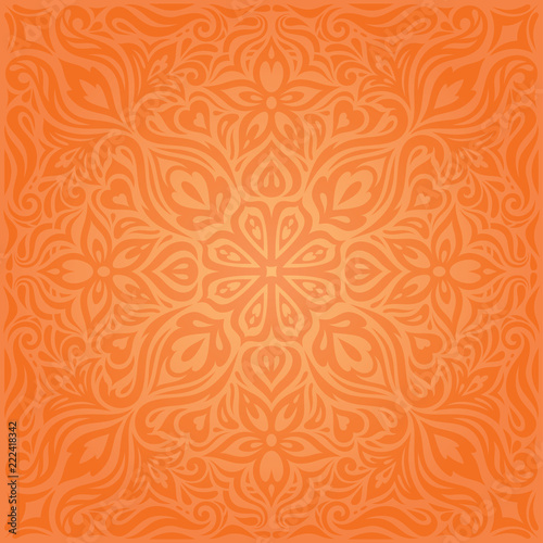 Flowers Orange Retro Style Colorful Floral Mandala Wallpaper