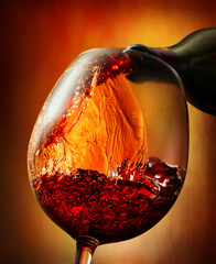 Panel Szklany Do steakhouse Red wine on an orange background