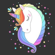 Unicorn Head With Rainbow Hair. White Unicorn Face With Raibow Hair