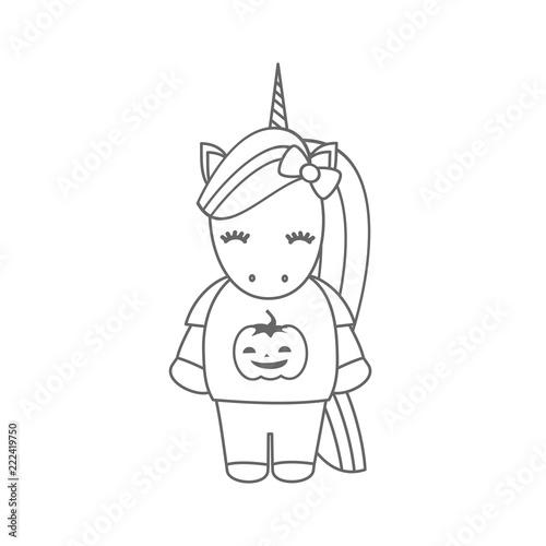 Cute Cartoon Black And White Halloween Vector Illustration