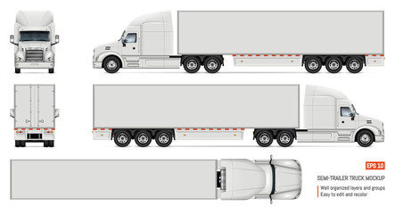 Realistic white truck vector illustration