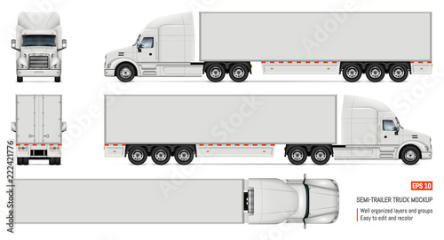 Fotomural  Realistic white truck vector illustration