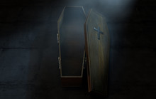 Open Coffin And Crucifix