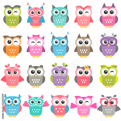 Canvas Prints Owls cartoon set of colorful owls isolated on white