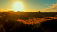 Amberley New Zealand At Sunset Over The Mountains Shot By Drone