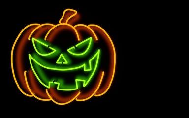 glowing neon light halloween pumpkin. 3d rendering.