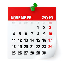 November 2019 - Calendar.