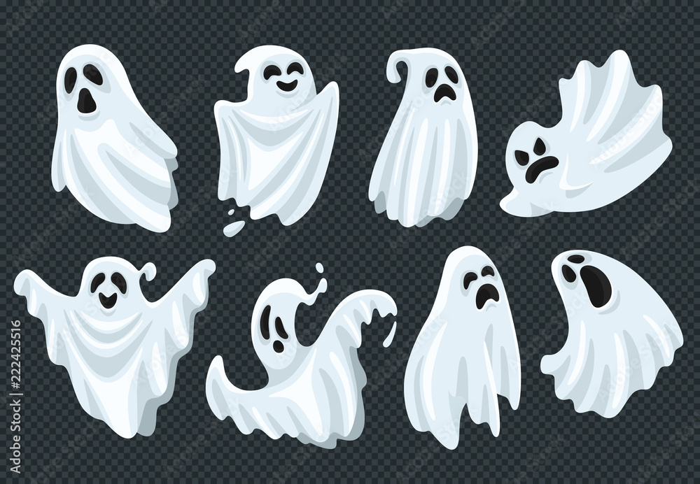 Fototapeta Spooky halloween ghost. Fly phantom spirit with scary face. Ghostly apparition in white fabric vector illustration set