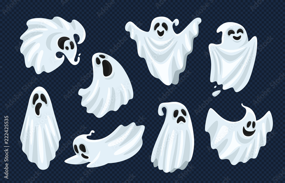 Fototapeta Ghost character. Halloween scary ghostly monster, dead boo spook and spooky fly anima isolated cartoon vector set