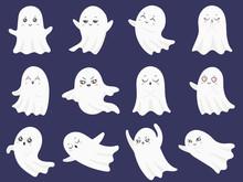 Cute Halloween Ghosts. Frighte...