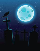 Vector Colorful Illustration Of A Cemetery With Moonlight Over A Dark Blue Sky. Graves With Crosses And A Full Blue Moon. Design Flyer For Halloween With A Raven Sitting On A Graveyard