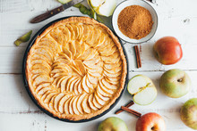 Homemade Apple Pie Tart On Whi...