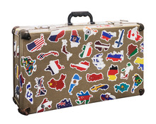 Suitcase Stickers Of The Flags Of The Countries From Travels Around The World. Isolated On White Background