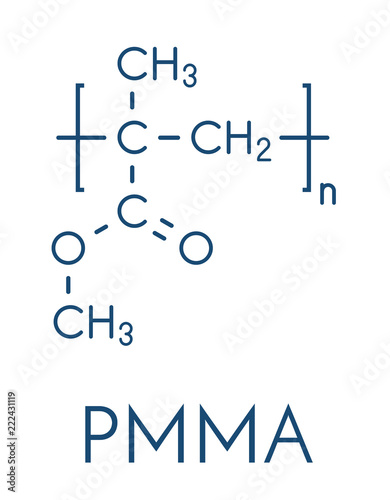 Acrylic glass or poly(methyl methacrylate), chemical structure Canvas Print