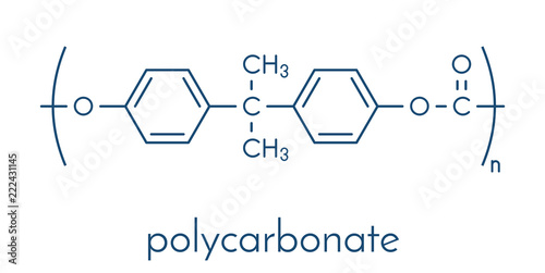 Polycarbonate (PC) plastic, chemical structure  Made from phosgene
