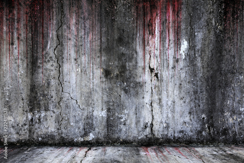 Fotografie, Obraz  Bloody background scary old cement wall and floor, concept of horror and Hallowe