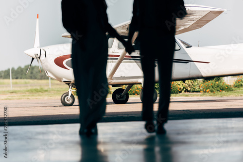 Fotografie, Obraz  cropped image of silhouettes of young couple holding hands and walking to airpla