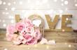 canvas print picture - Rosenstrauß rosa - Grußkarte Love