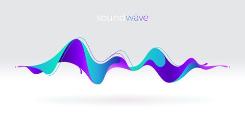 Šareni apstraktni fluidni zvučni val. Vektorska ilustracija.