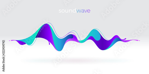 Vászonkép Multicolored abstract fluid sound wave. Vector illustration.