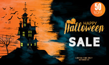 Halloween Sale Vector Banner With Lettering And Detailed Engraving Background. Pumpkin, Witch Hat, Skull, Cat Hand Drawn Elements. Great For Voucher, Offer, Coupon, Holiday Sale.