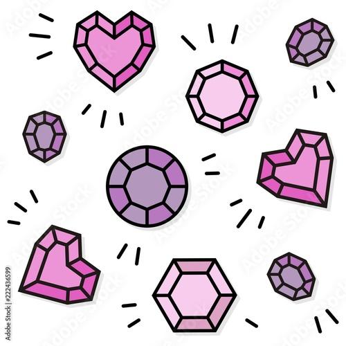 kamienie szlachetne serce różne kształty różowy  powtarzalny nieskończony deseń