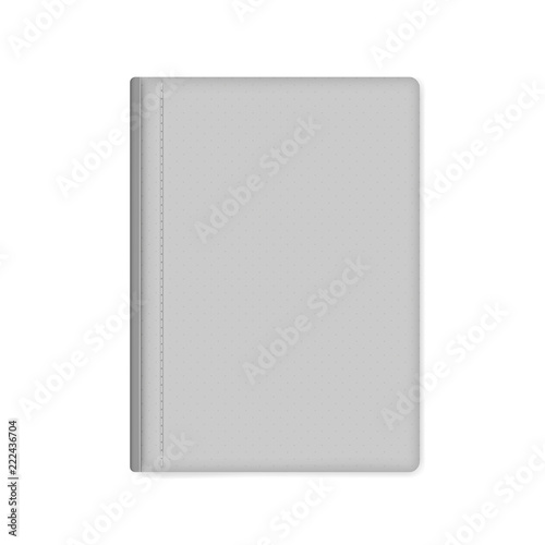 Fotografering  Gray leather bound hardcover notebook isolated on white, mock-up