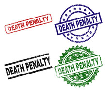 DEATH PENALTY Seal Prints With Distress Texture. Black, Green,red,blue Vector Rubber Prints Of DEATH PENALTY Text With Corroded Texture. Rubber Seals With Round, Rectangle, Medal Shapes.