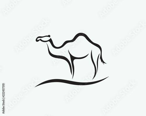 Stand line art camel logo Fototapet
