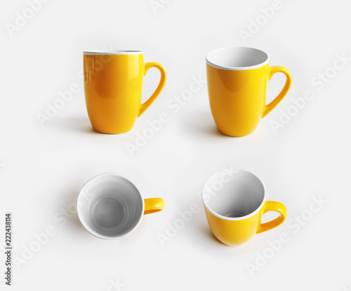 Yellow ceramic mugs. Cups for coffee or tea. Responsive design mockup.