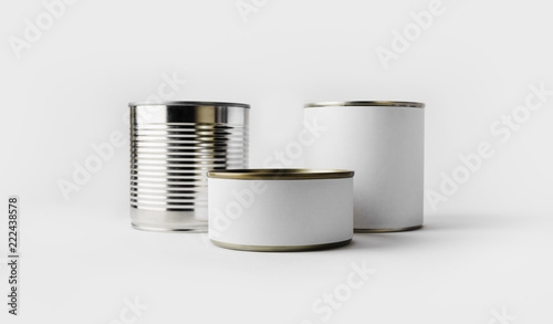 Assortiment Three food tin cans with blank white labels. Responsive design mockup.