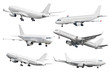 canvas print picture Set of six aircraft isolated from the white background.