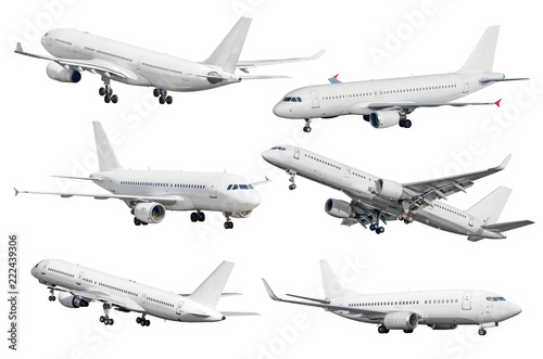 Poster Avion à Moteur Set of six aircraft isolated from the white background.