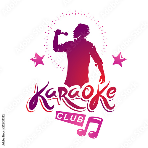Karaoke club flyers vector cover design created using musical notes
