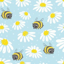 Seamless Summer Pattern With Cute Bee And Flowers.