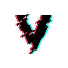 Vector Logo Letter V Glitch Distortion Diagonal