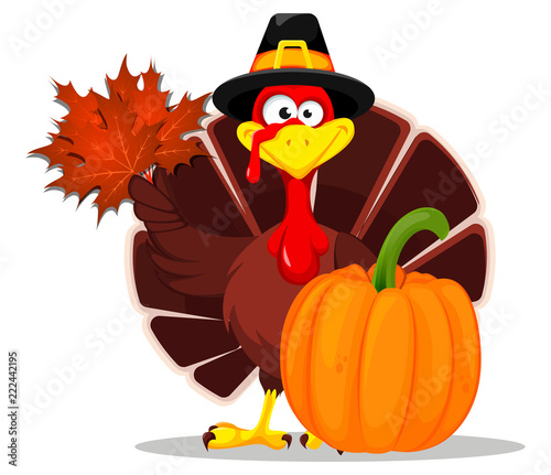 Thanksgiving turkey. Happy Thanksgiving day Wallpaper Mural