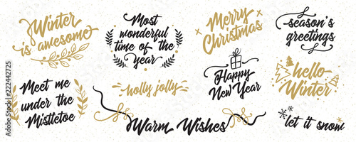 black and gold merry christmas happy new year hand lettering set classic vintage calligraphy collection