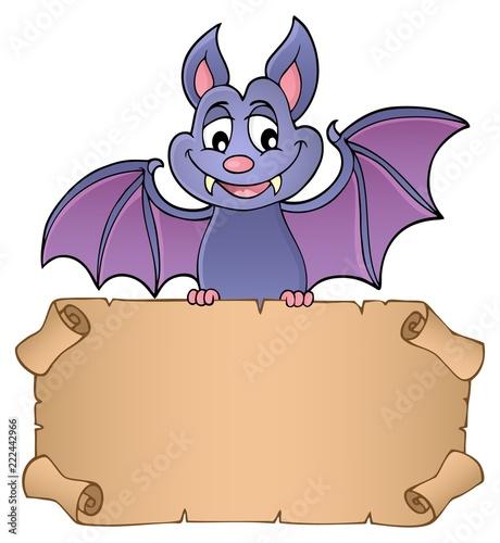 Spoed Foto op Canvas Voor kinderen Bat holding parchment image 1