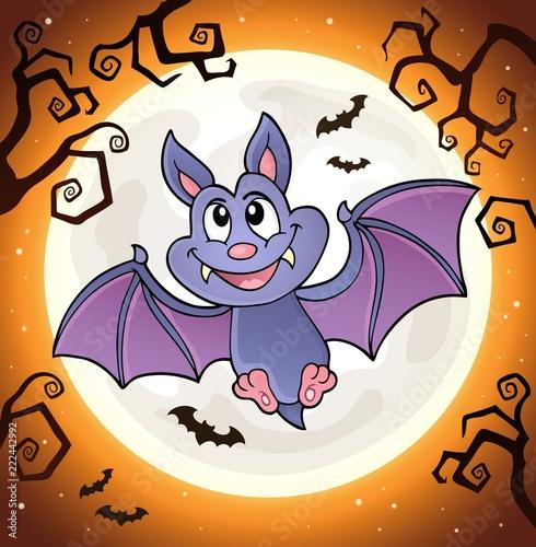 Spoed Foto op Canvas Voor kinderen Cartoon bat topic image 1